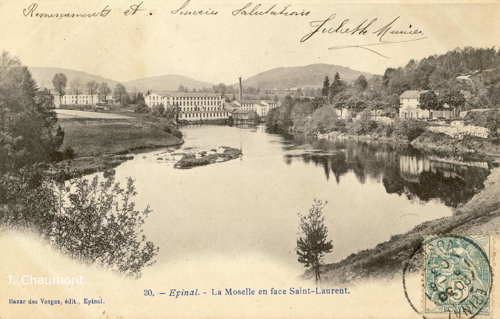 La Moselle en face Saint-Laurent en 1903