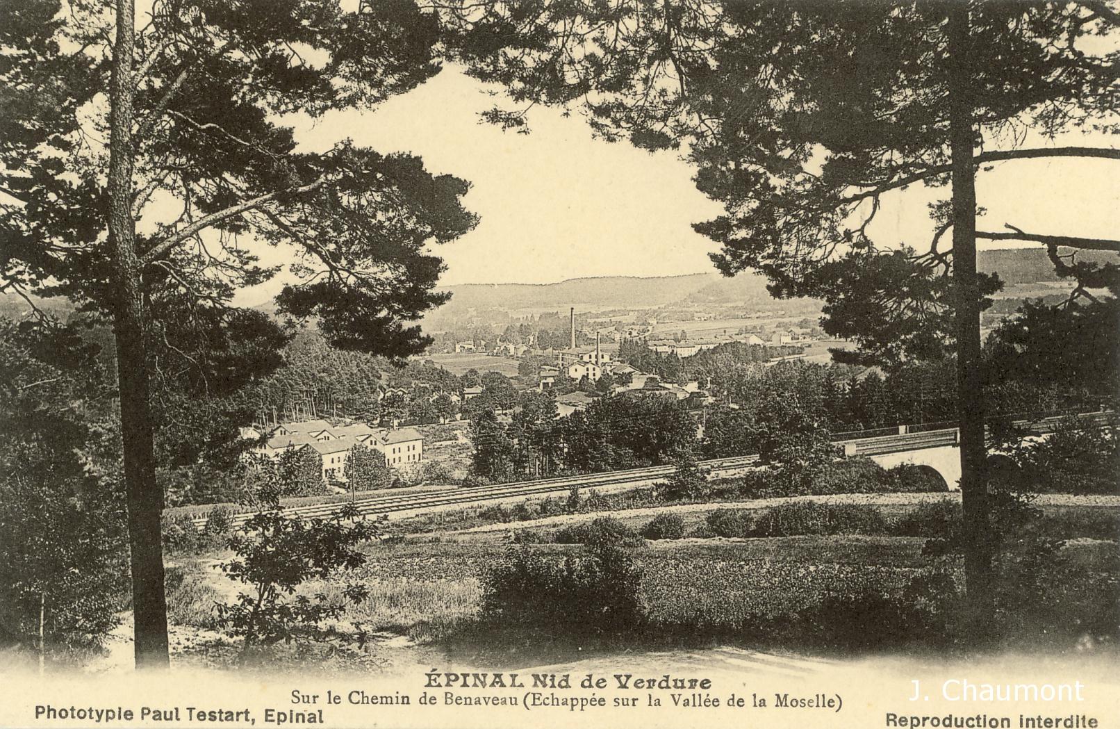 Sur le Chemin de Benaveau, vue sur la vallée de la Moselle avant 1914